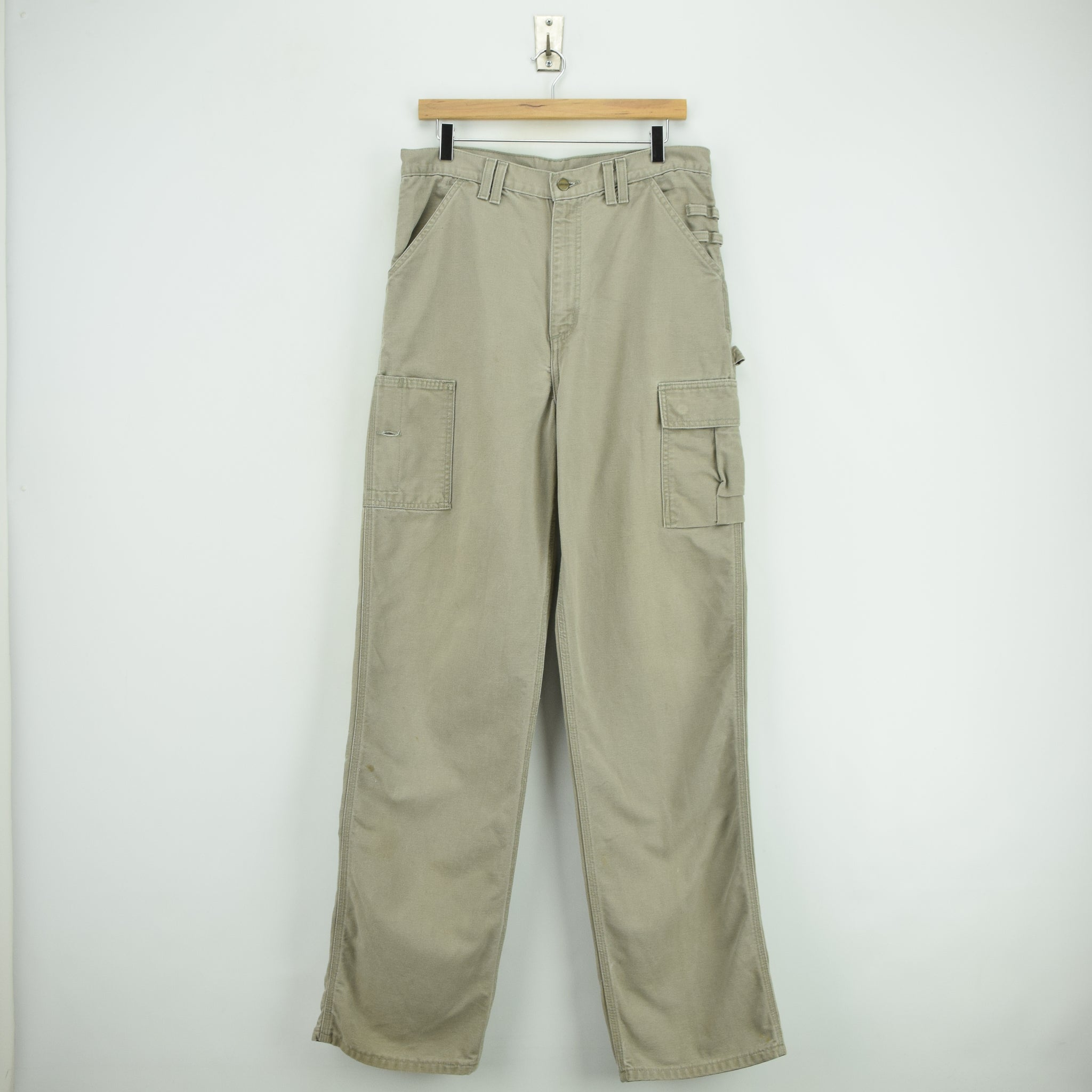 Vintage Carhartt Stone Duck Canvas Utility Work Cargo Pant 32 W 34 L front
