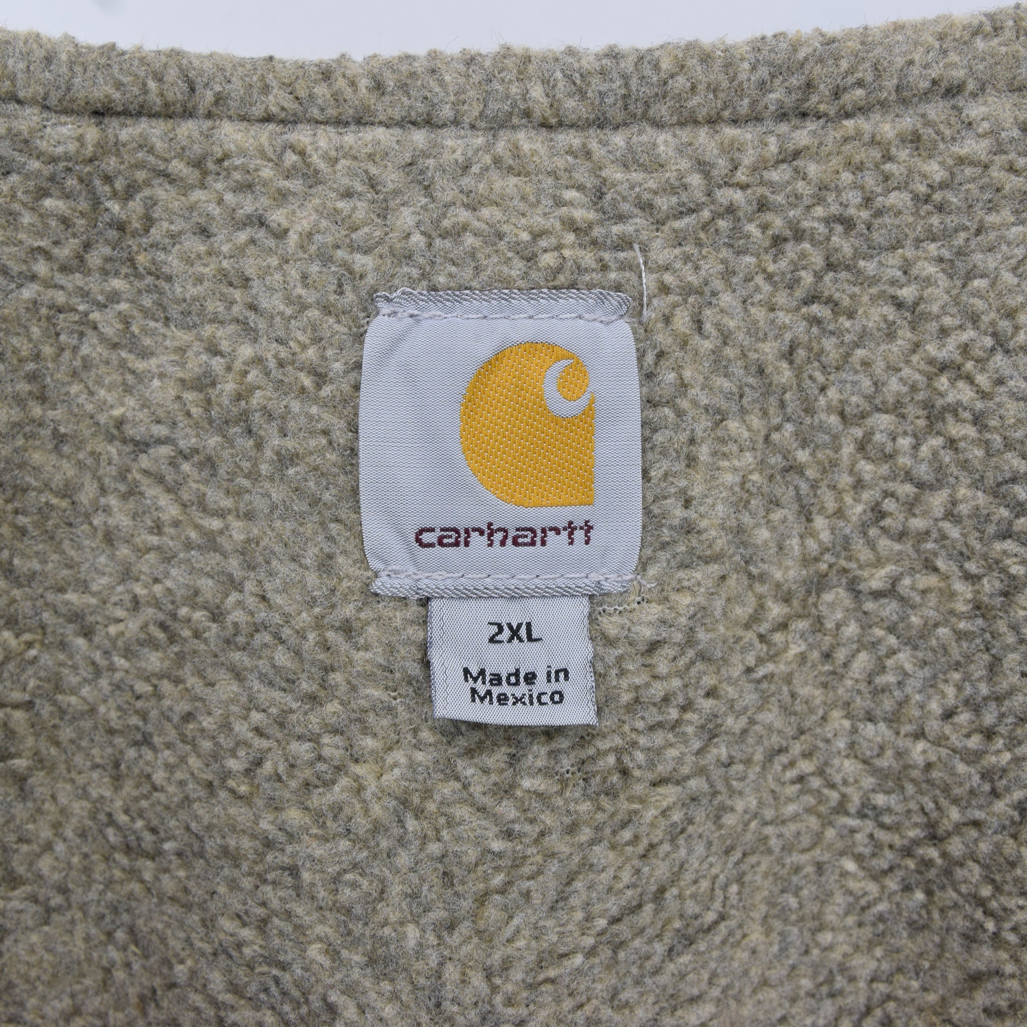 Vintage Carhartt Green Gilet Duck Canvas Cotton Waistcoat Vest Sherpa Lined XXL label