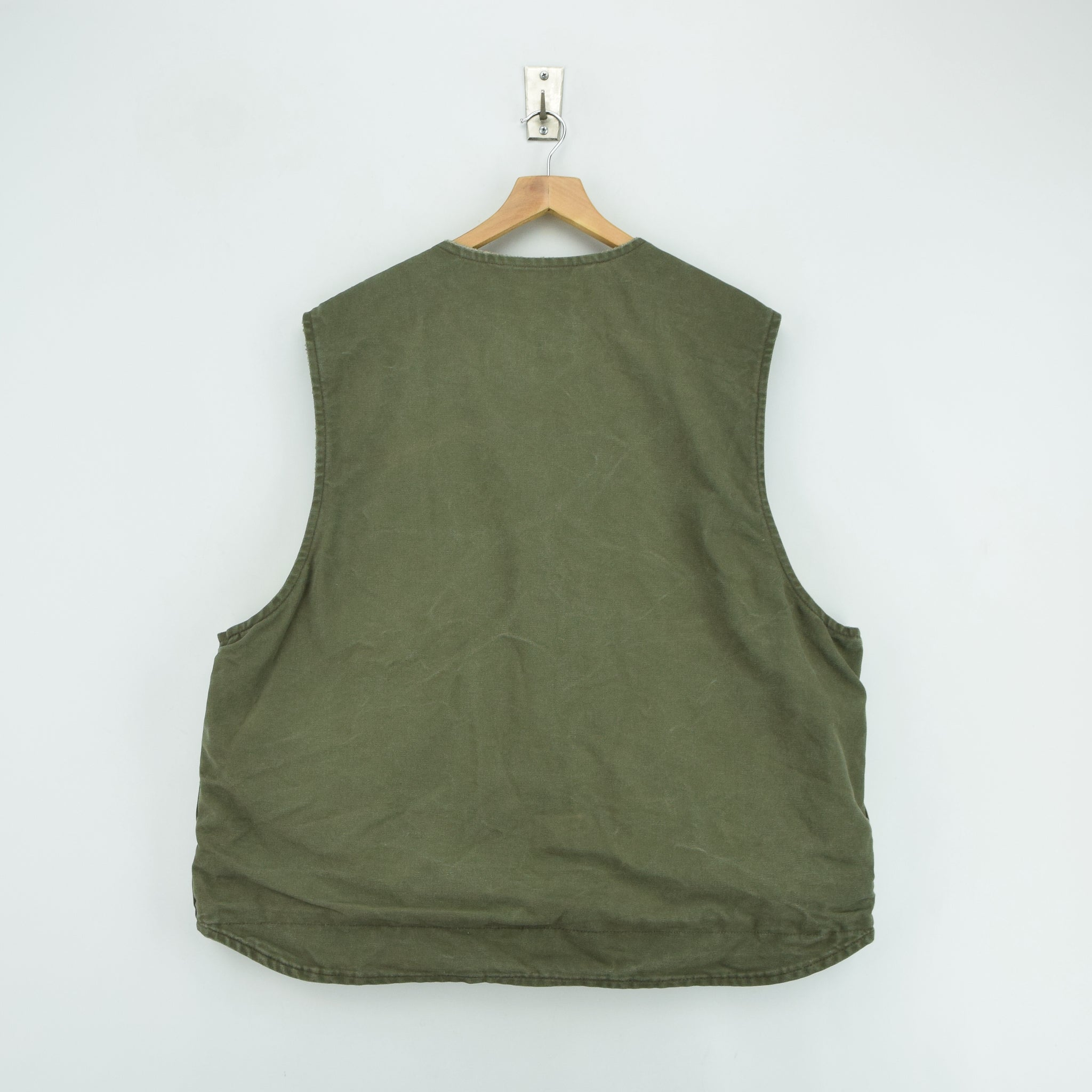 Vintage Carhartt Green Gilet Duck Canvas Cotton Waistcoat Vest Sherpa Lined XXL back