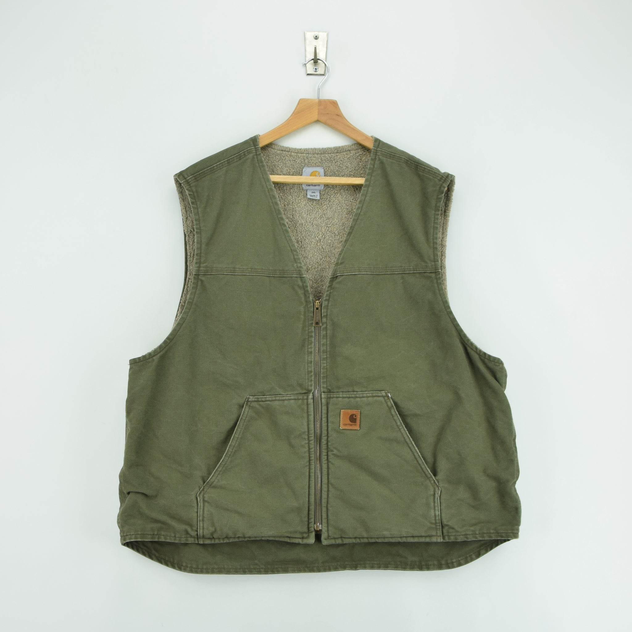 Vintage Carhartt Green Gilet Duck Canvas Cotton Waistcoat Vest Sherpa Lined XXL front