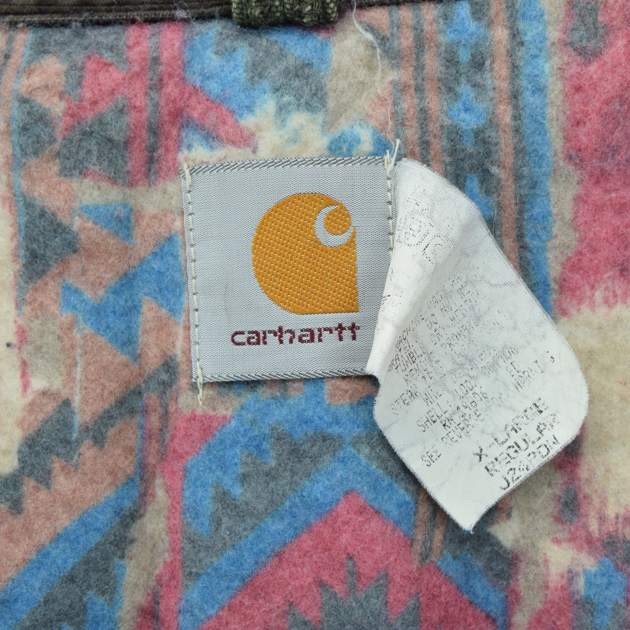 Vintage Carhartt Cotton Blanket Lined Green Bomber Jacket Made in USA XL / XXL label