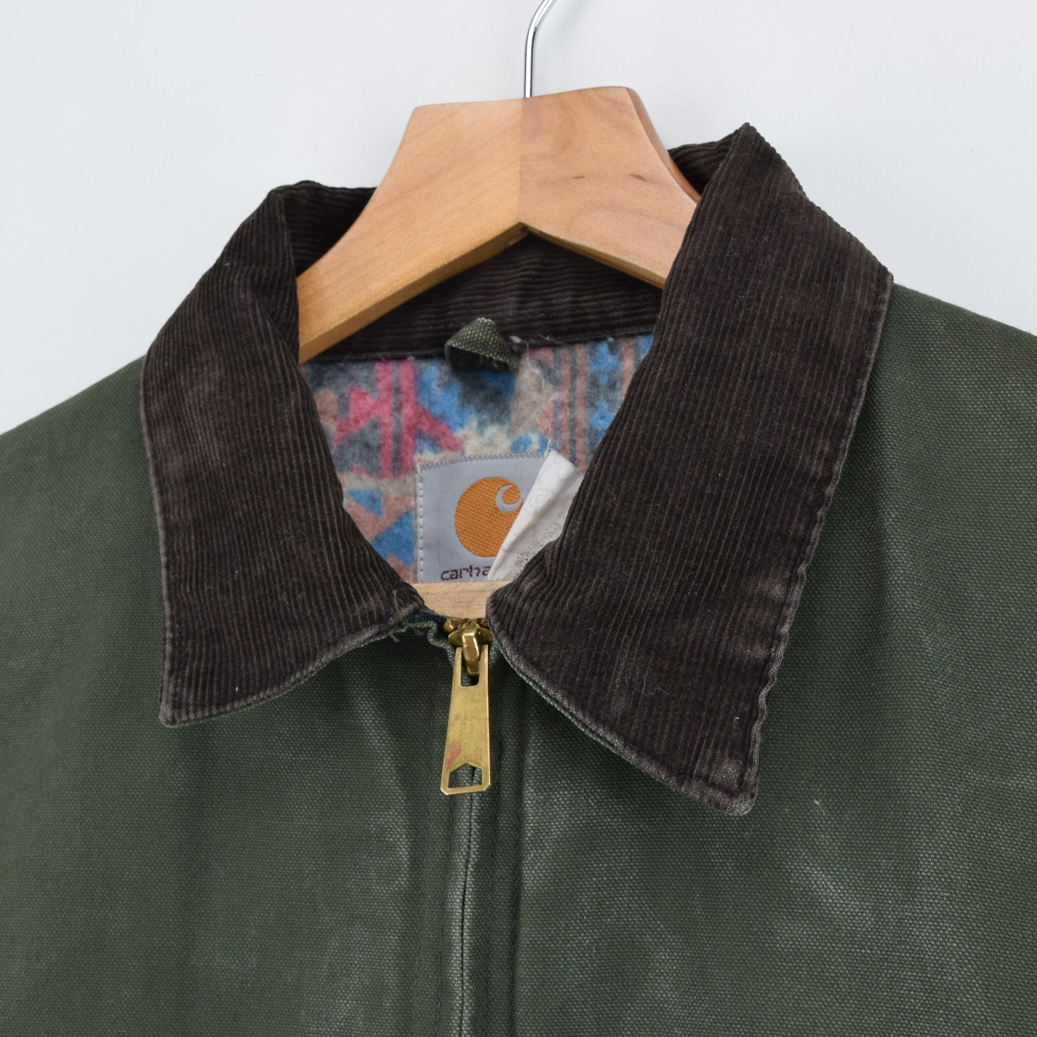 Vintage Carhartt Cotton Blanket Lined Green Bomber Jacket Made in USA XL / XXL collar