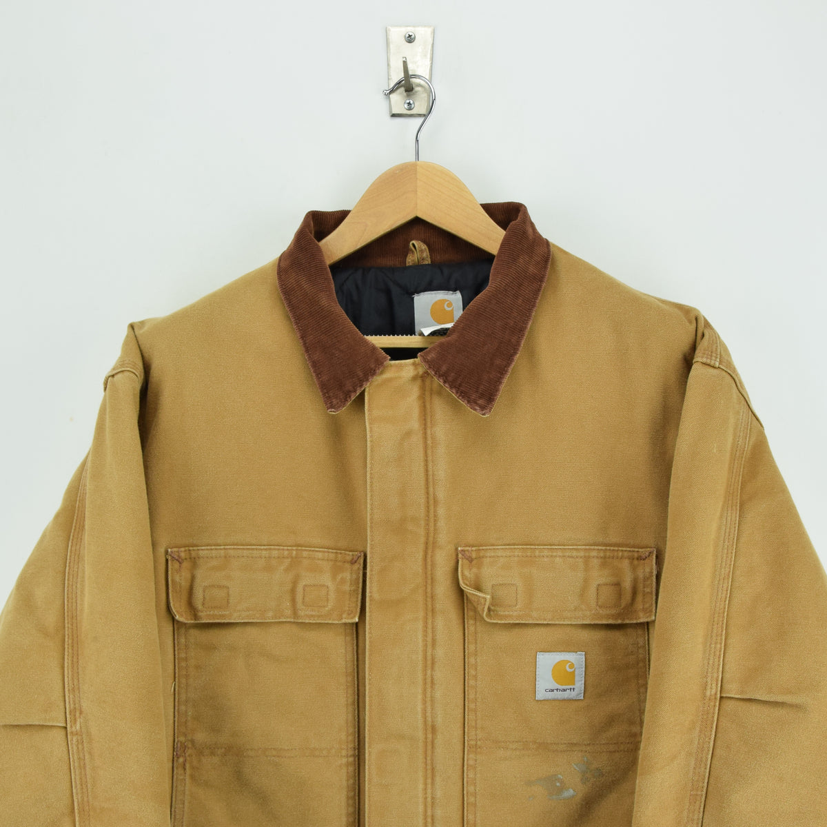 Vintage Carhartt Duck Canvas Tan Brown Worker Chore Jacket Made in USA XXL chest