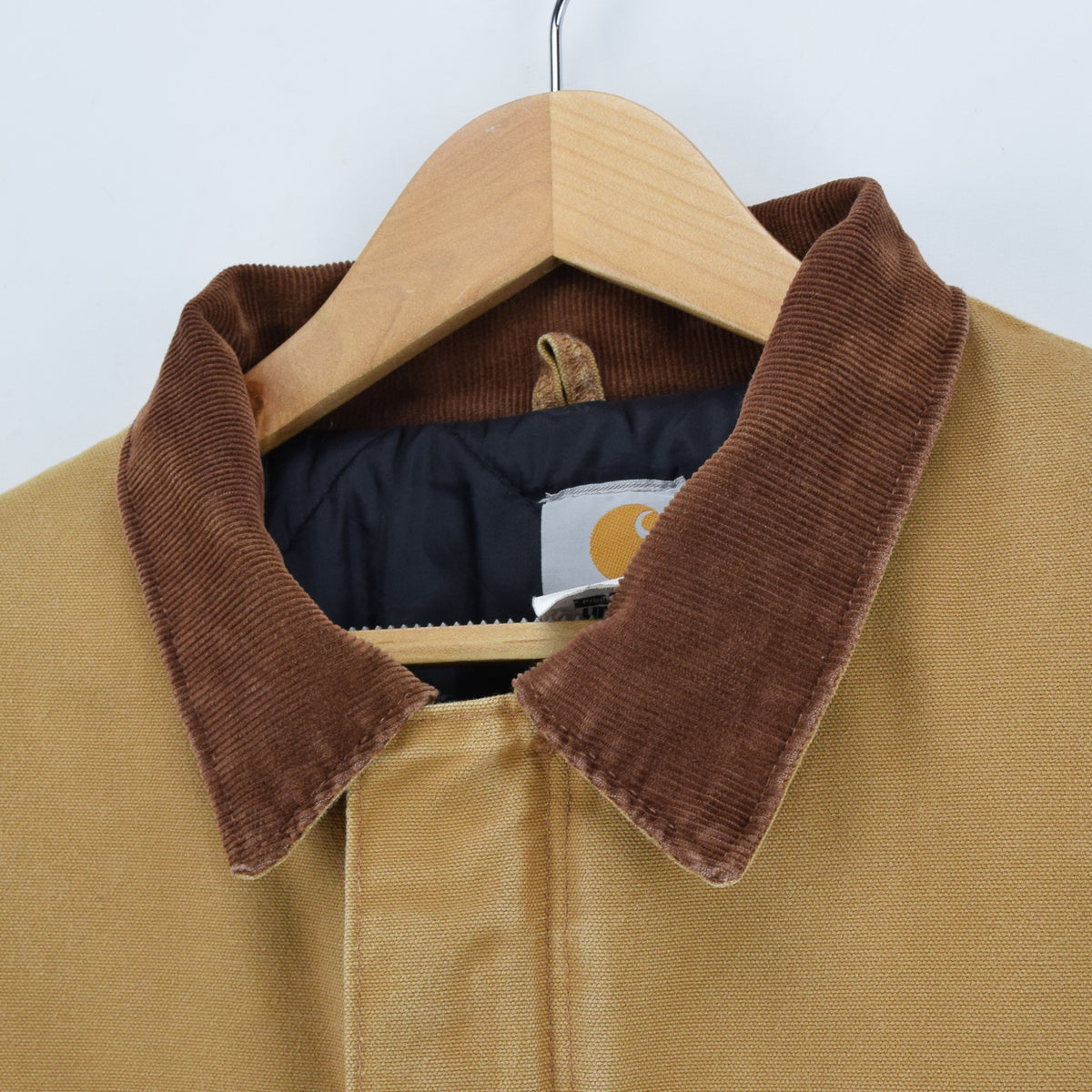 Vintage Carhartt Duck Canvas Tan Brown Worker Chore Jacket Made in USA XXL collar