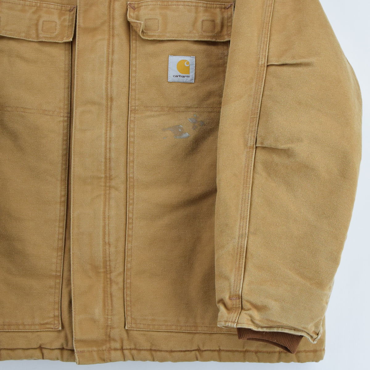 Vintage Carhartt Duck Canvas Tan Brown Worker Chore Jacket Made in USA XXL front hem
