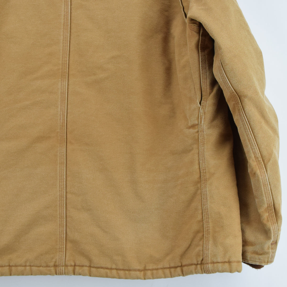 Vintage Carhartt Duck Canvas Tan Brown Worker Chore Jacket Made in USA XXL back hem