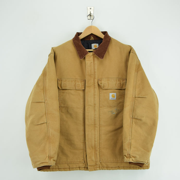 Vintage Carhartt Duck Canvas Tan Brown Worker Chore Jacket Made in USA XXL front