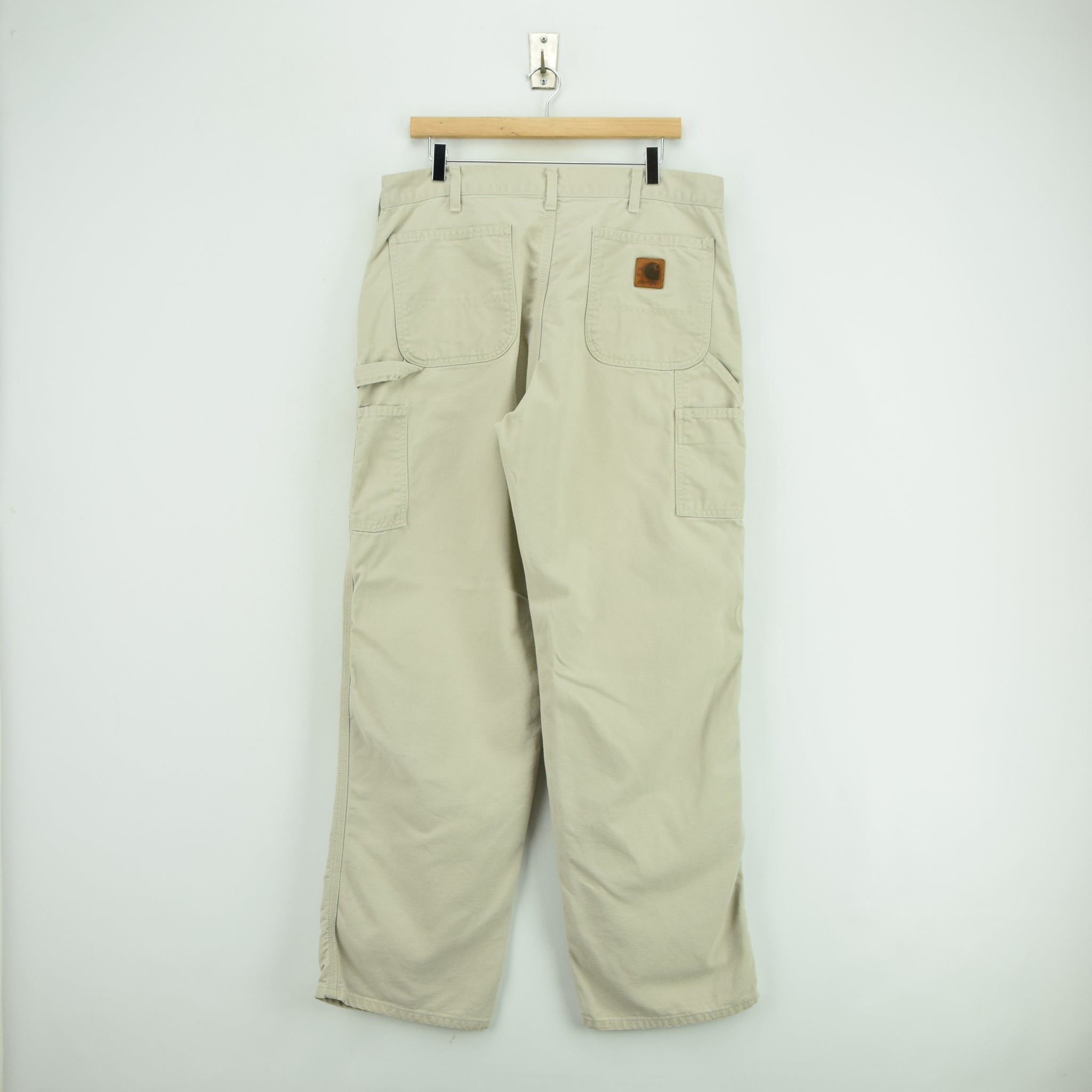 Vintage Carhartt Stone Carpenter Duck Canvas Utility Work Pant 34 W 32 L back