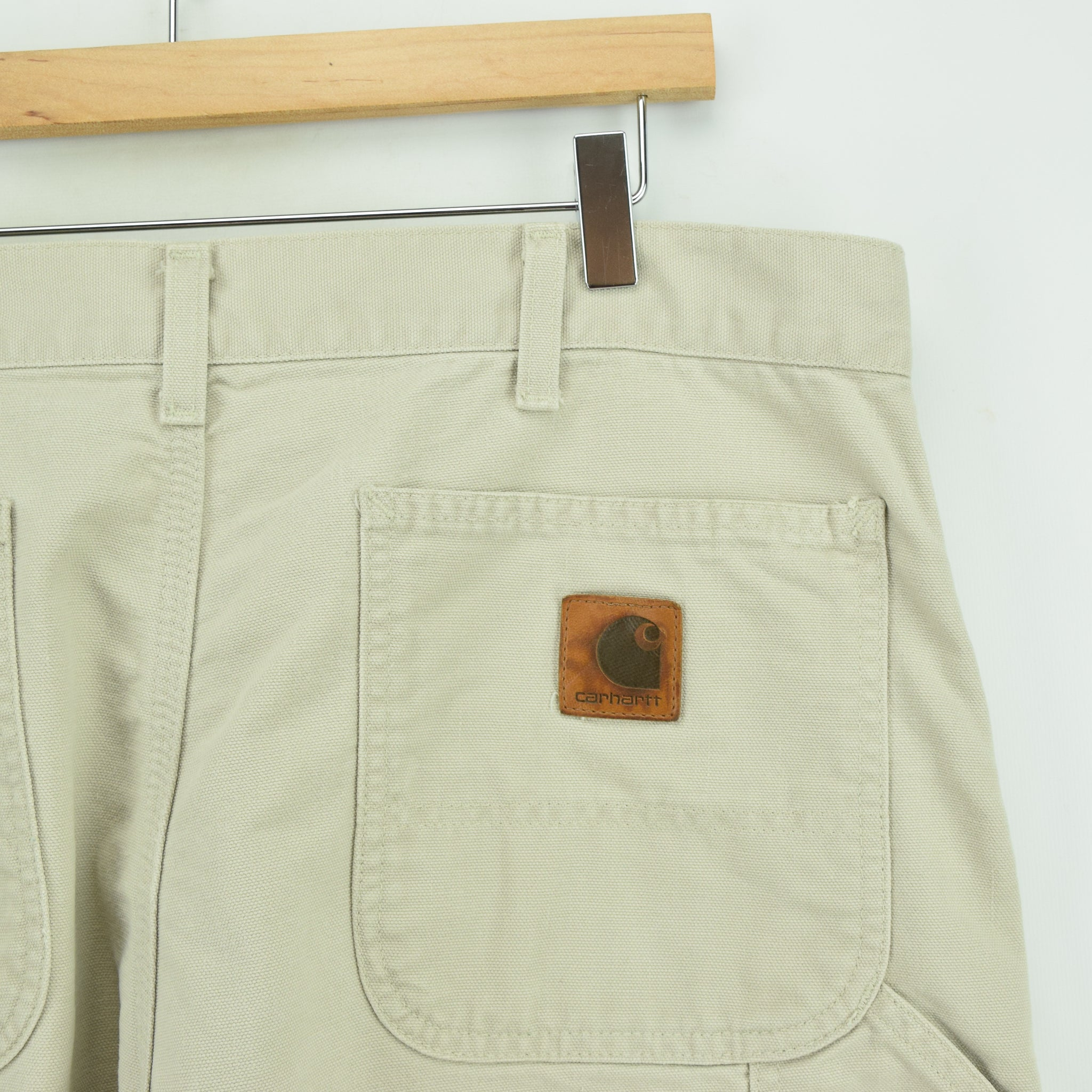 Vintage Carhartt Stone Carpenter Duck Canvas Utility Work Pant 34 W 32 L back pocket