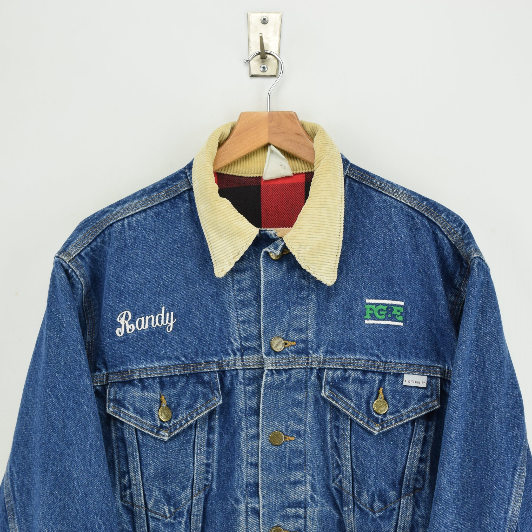 Vintage 80s 100 Years Carhartt USA Blue Denim Check Lined Trucker Jacket L chest