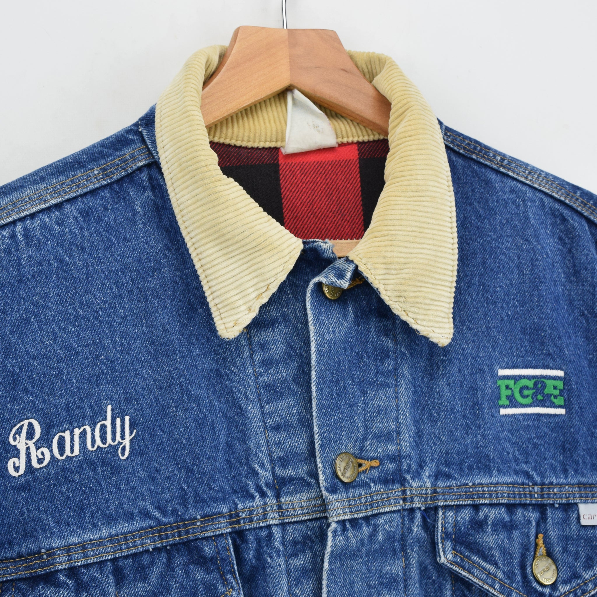 Vintage 80s 100 Years Carhartt USA Blue Denim Check Lined Trucker Jacket L collar