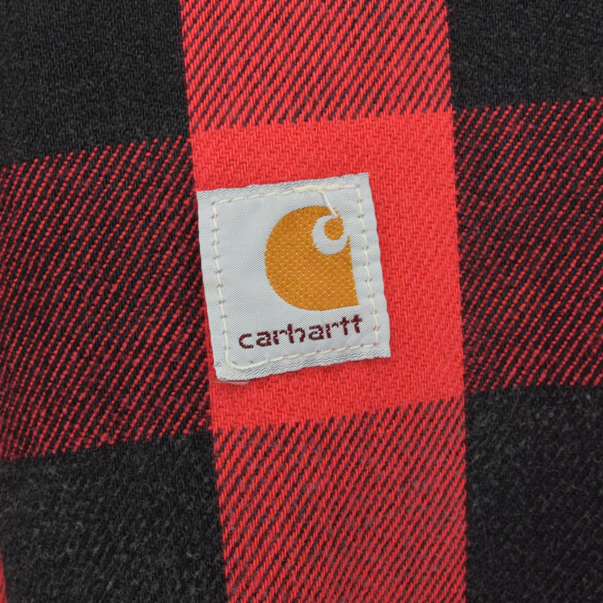 Vintage 80s 100 Years Carhartt USA Blue Denim Check Lined Trucker Jacket L label