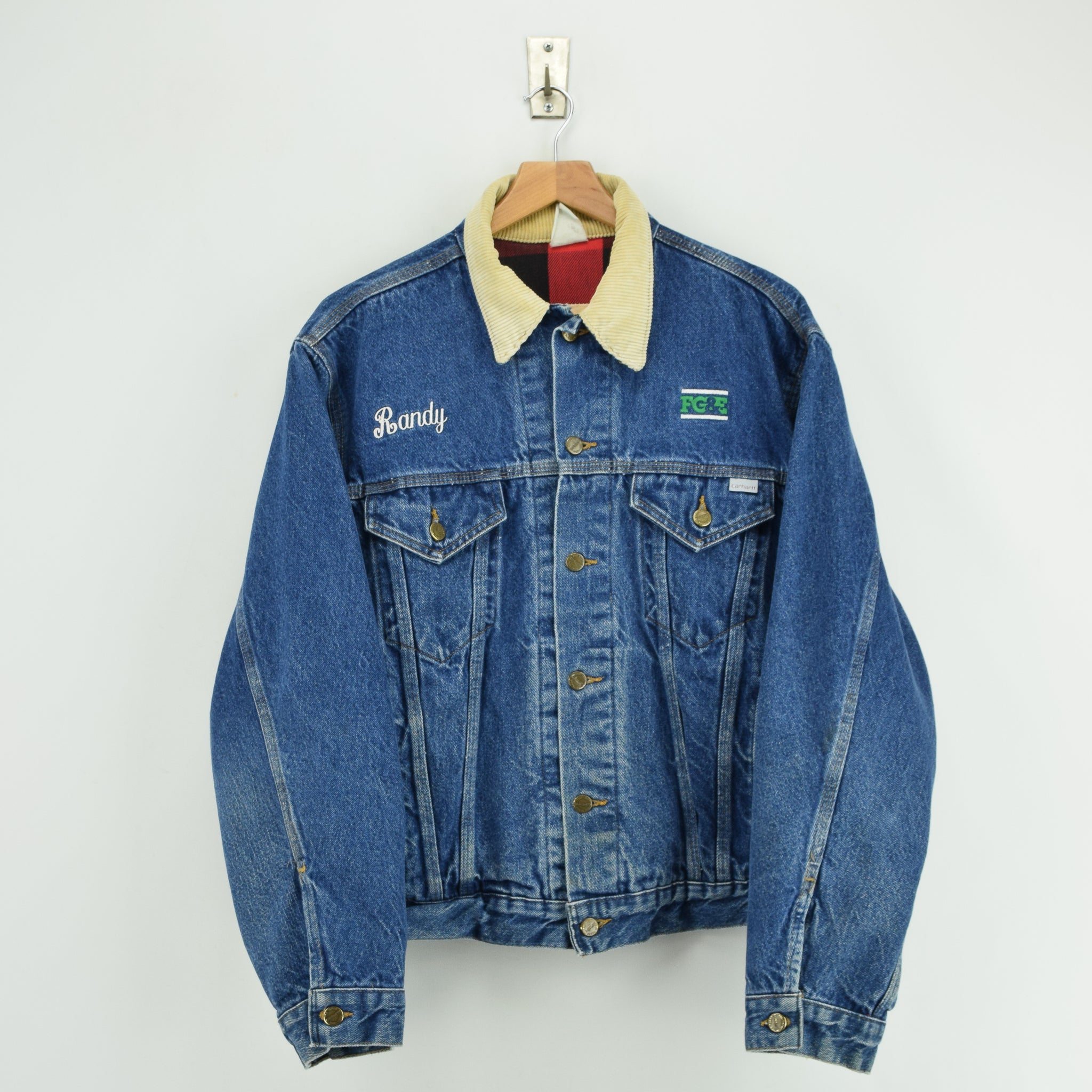 Vintage 80s 100 Years Carhartt USA Blue Denim Check Lined Trucker Jacket L front