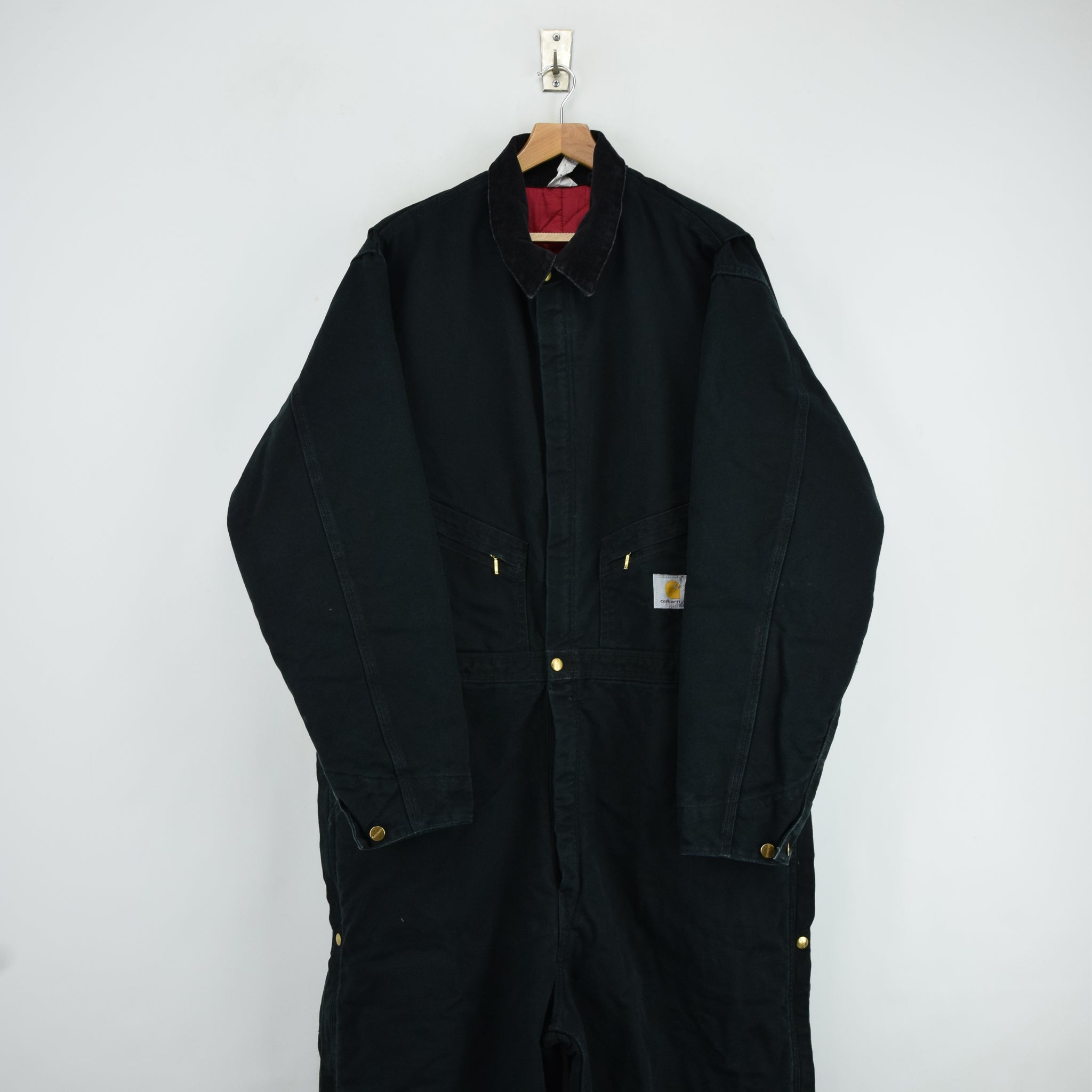 Vintage Carhartt Workwear Coverall Black Duck Canvas Boiler Suit 50 Tall 3XL FRONT