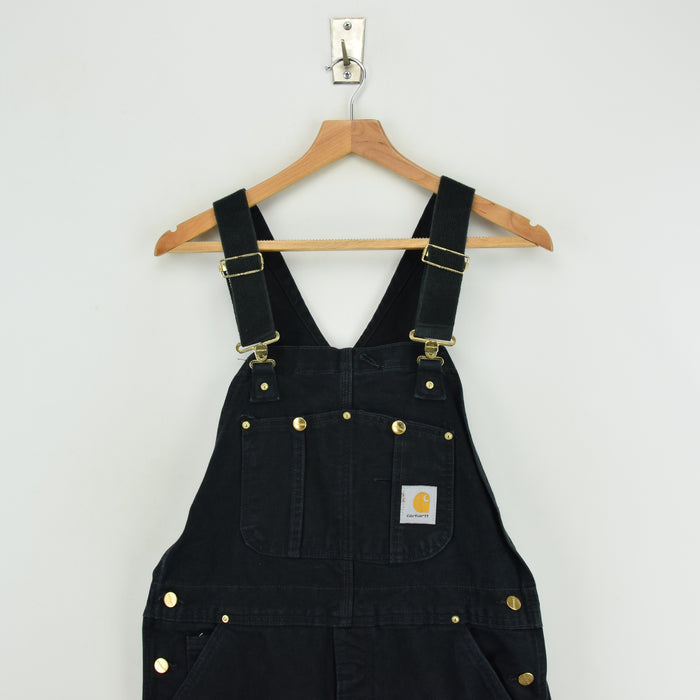 Vintage Carhartt Work Dungarees Black Duck Canvas Bib Overall Quilt Lined S / M chest