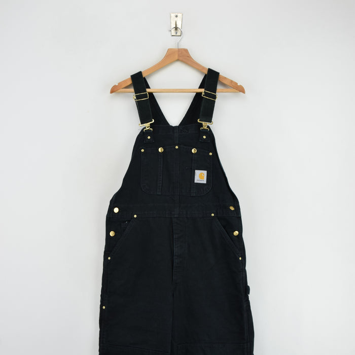 Vintage Carhartt Work Dungarees Black Duck Canvas Bib Overall Quilt Lined S / M front