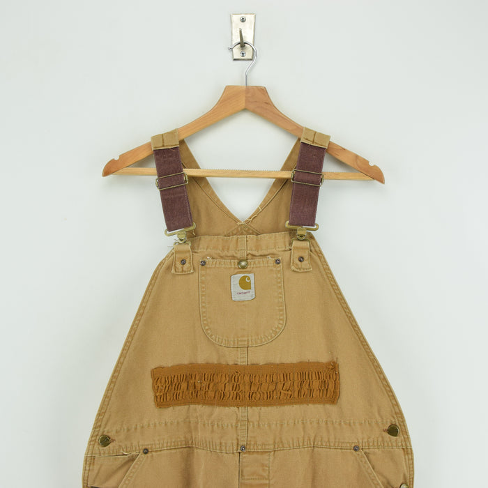 Vintage 70s Carhartt Work Dungarees Brown Duck Canvas Bib Overall M / L chest