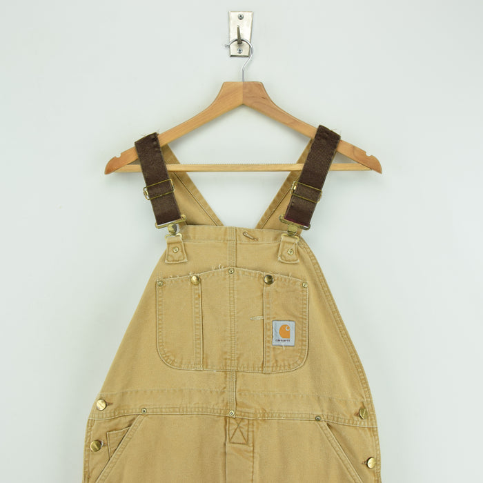 Vintage Carhartt Work Dungarees Tan Brown Duck Canvas Bib Overall Quilt Lined M chest