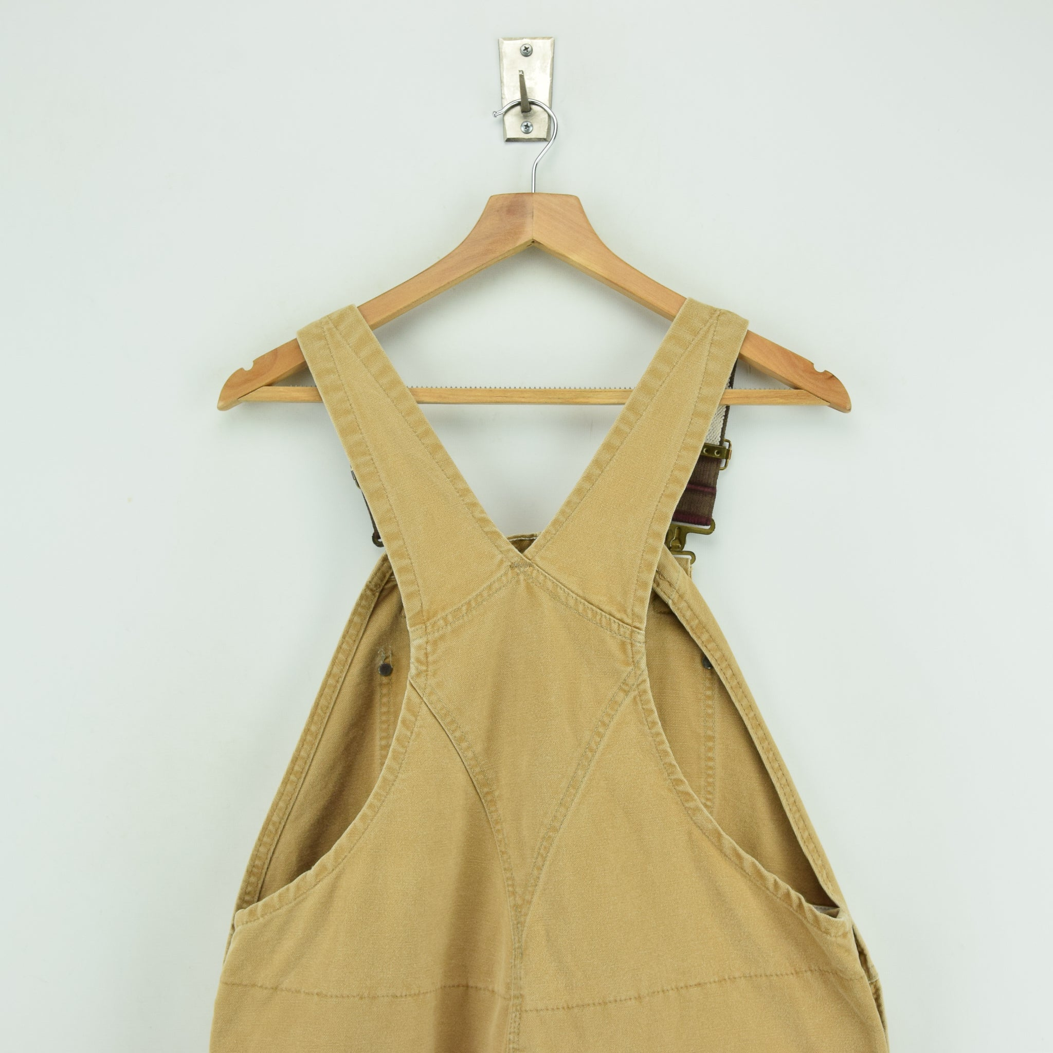 Vintage Carhartt Work Dungarees Tan Brown Duck Canvas Bib Overall Quilt Lined M upper back