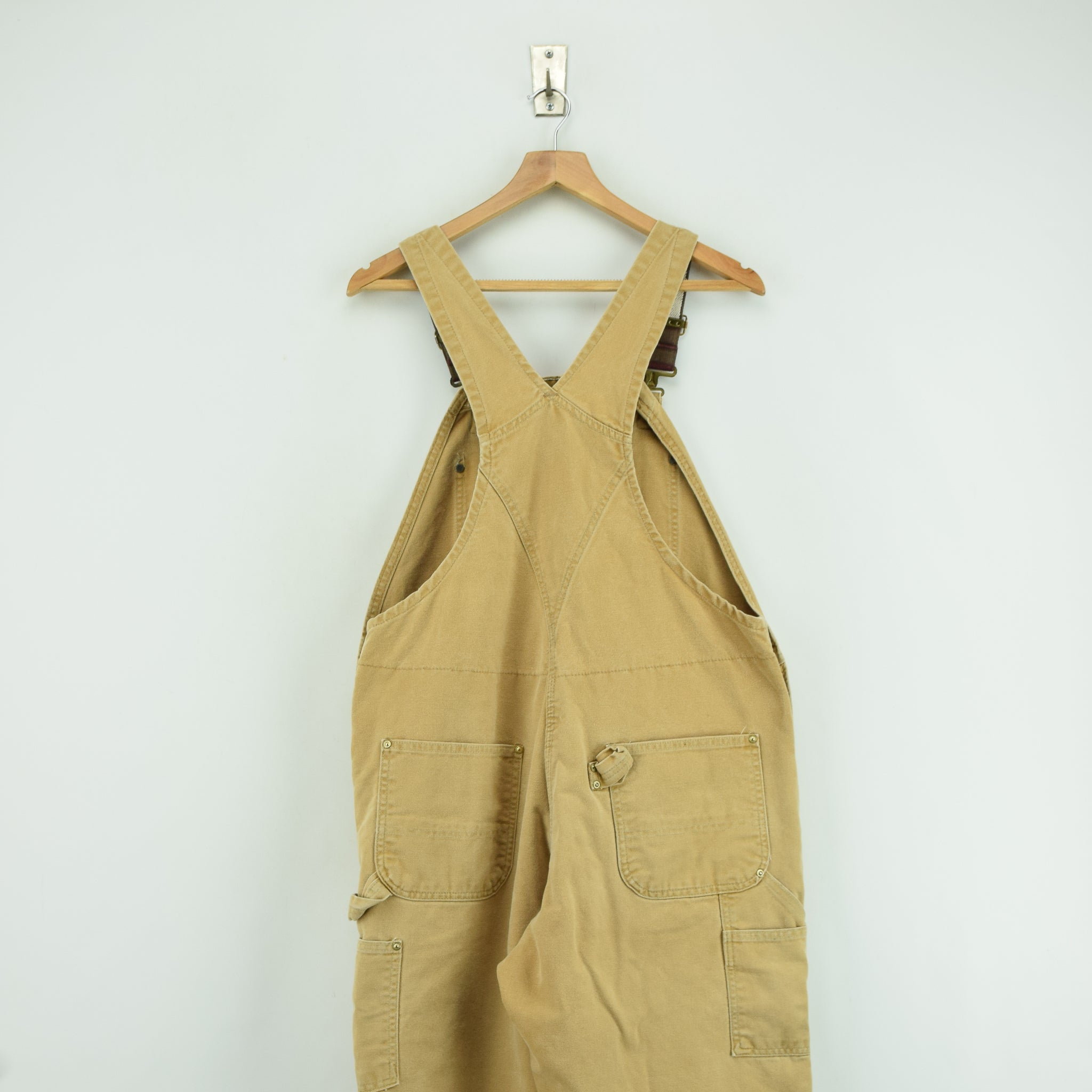 Vintage Carhartt Work Dungarees Tan Brown Duck Canvas Bib Overall Quilt Lined M back