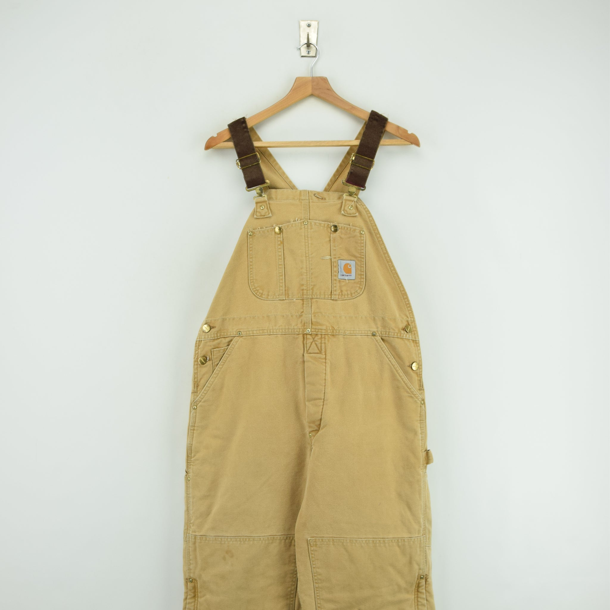 Vintage Carhartt Work Dungarees Tan Brown Duck Canvas Bib Overall Quilt Lined M FRONT