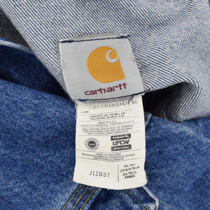 Vintage Carhartt Blue Denim Trucker Jacket Made in USA XXL Tall Oversized label