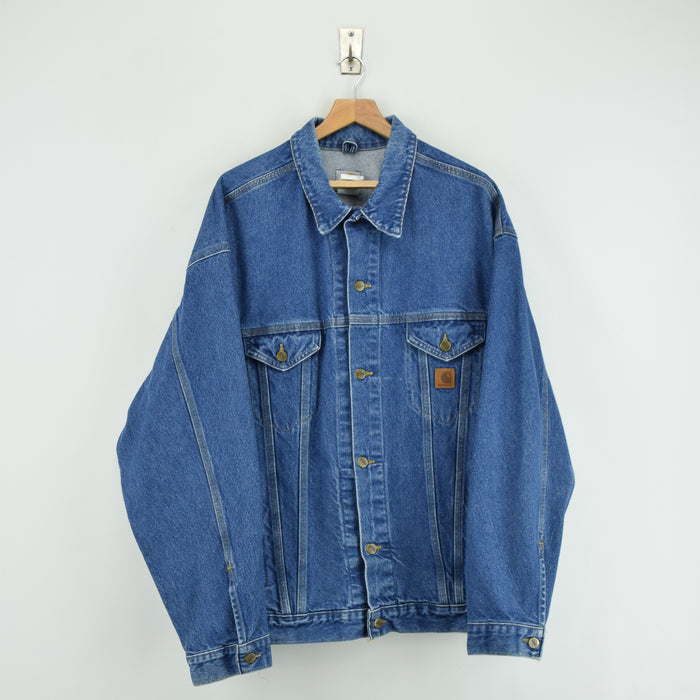 Vintage Carhartt Blue Denim Trucker Jacket Made in USA XXL Tall Oversized front