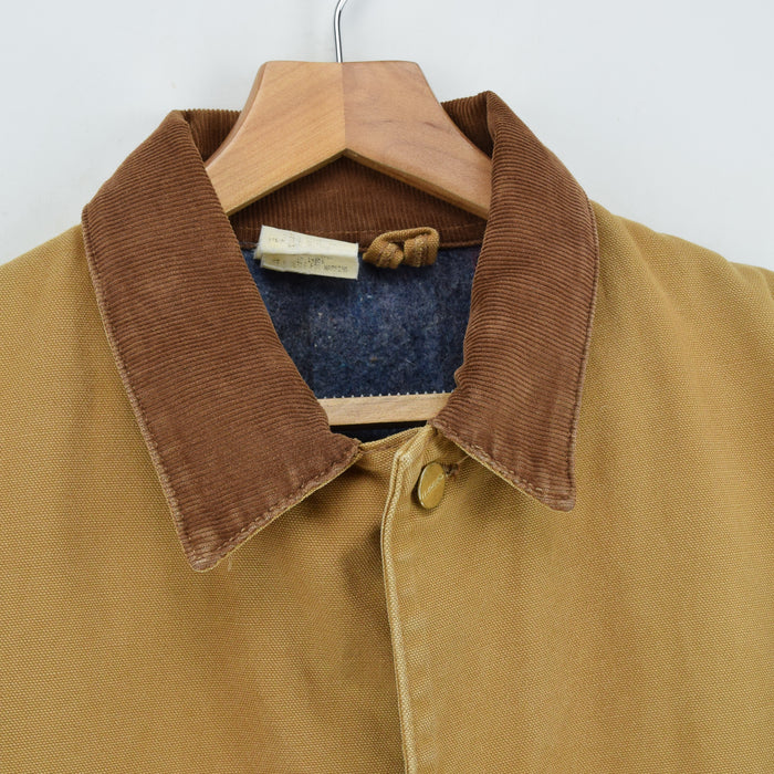 Vintage Carhartt USA Michigan Blanket Lined Tan Brown Chore Jacket 48 Tall XXL collar