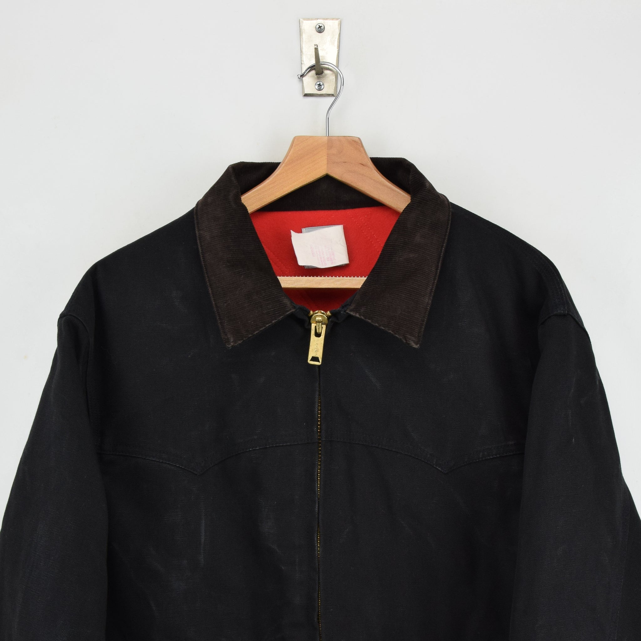 Vintage Carhartt Duck Canvas Quilt Lined Black Bomber Jacket Made in USA XL chest