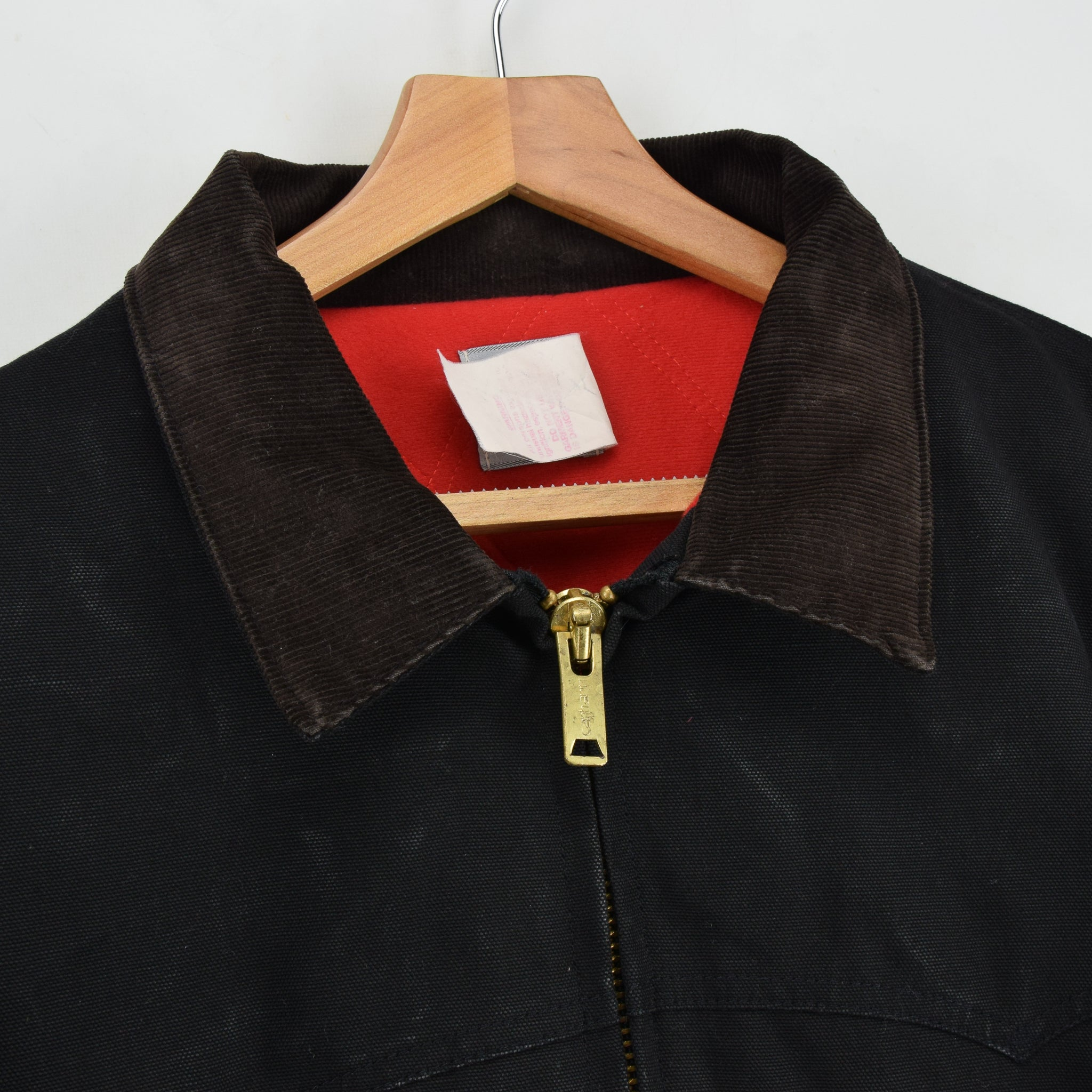 Vintage Carhartt Duck Canvas Quilt Lined Black Bomber Jacket Made in USA XL collar