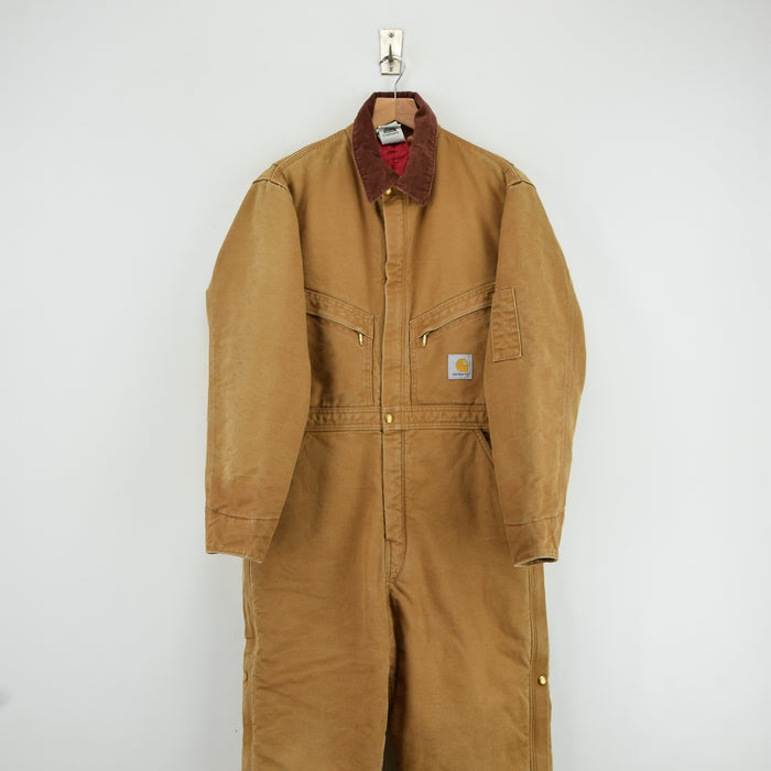 Vintage Carhartt Workwear Coverall Duck Canvas Boiler Suit Made in USA 40S M front