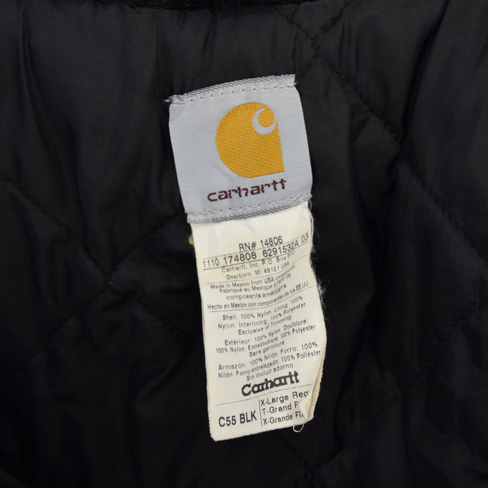 Carhartt Duck Canvas Nylon Black Worker Chore Coat Jacket XL / XXL label