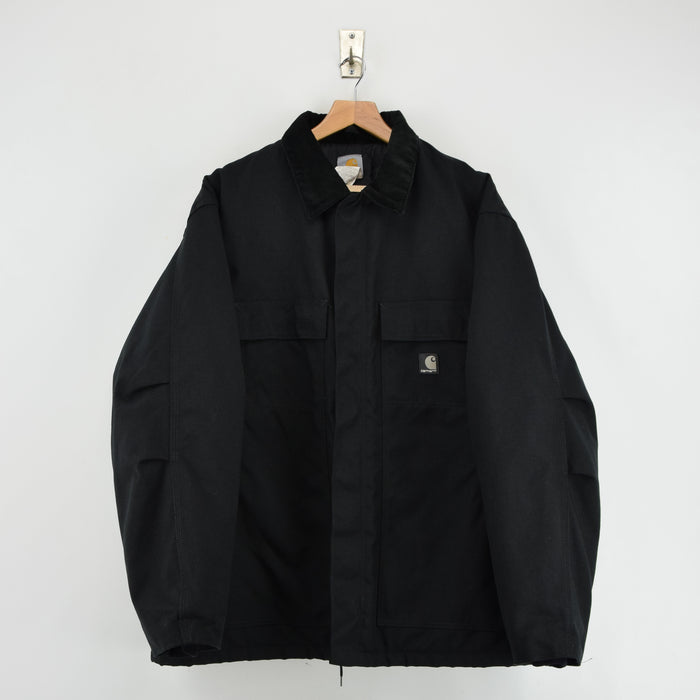 Carhartt Duck Canvas Nylon Black Worker Chore Coat Jacket XL / XXL front