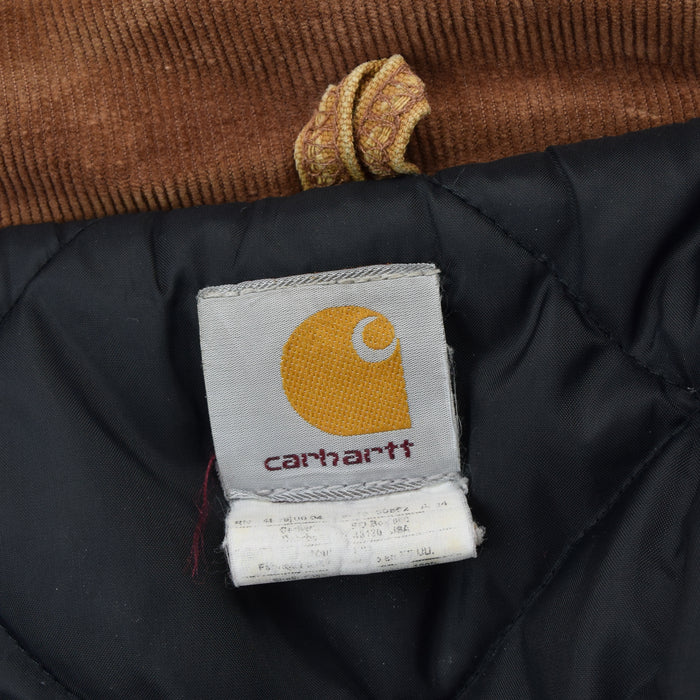 Vintage Carhartt Duck Canvas Tan Brown Worker Chore Jacket Made in USA L / XL label