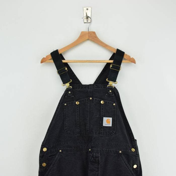 Vintage Carhartt Work Dungarees Black Duck Canvas Bib Overall Quilt Lined M chest