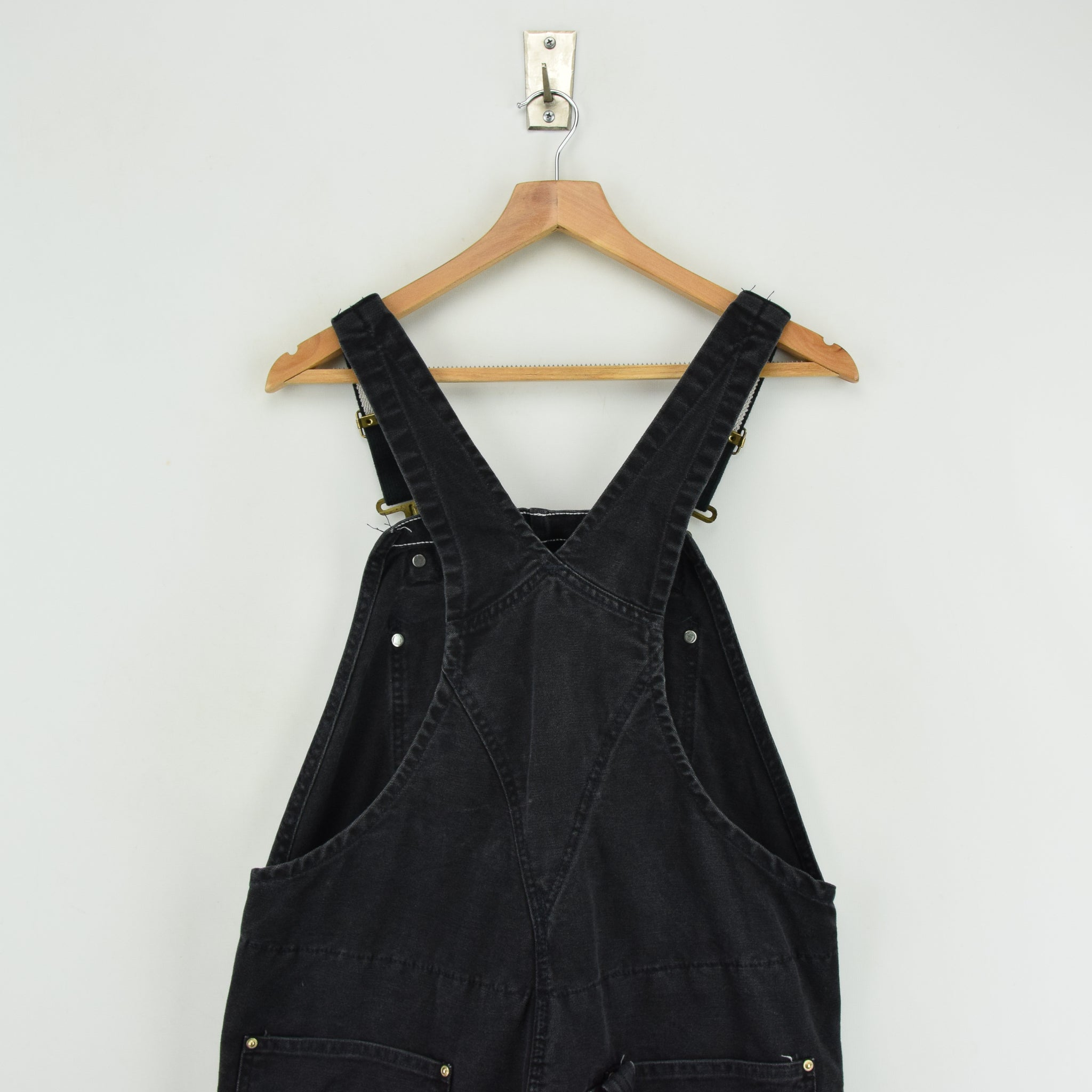 Vintage Carhartt Work Dungarees Black Duck Canvas Bib Overall Quilt Lined M upper back
