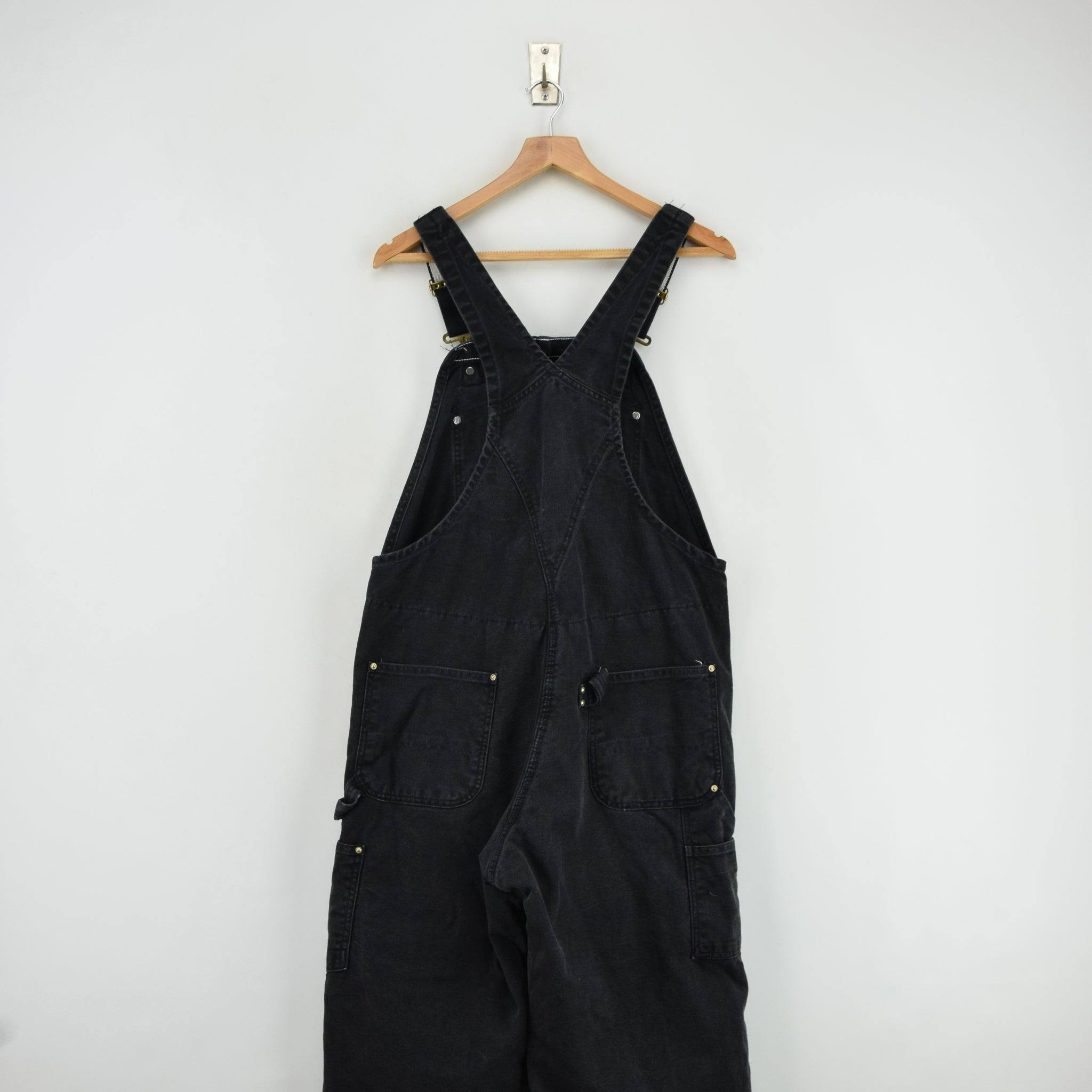 Vintage Carhartt Work Dungarees Black Duck Canvas Bib Overall Quilt Lined M back