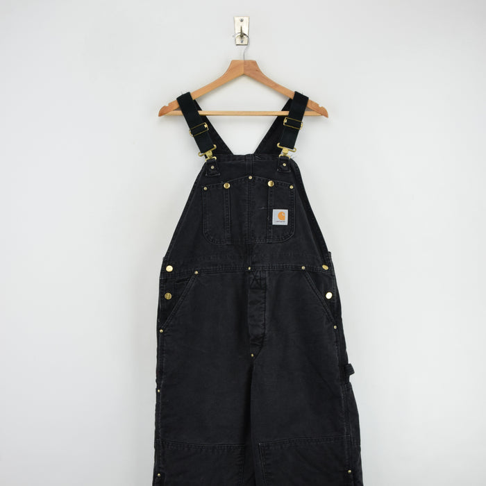 Vintage Carhartt Work Dungarees Black Duck Canvas Bib Overall Quilt Lined M front