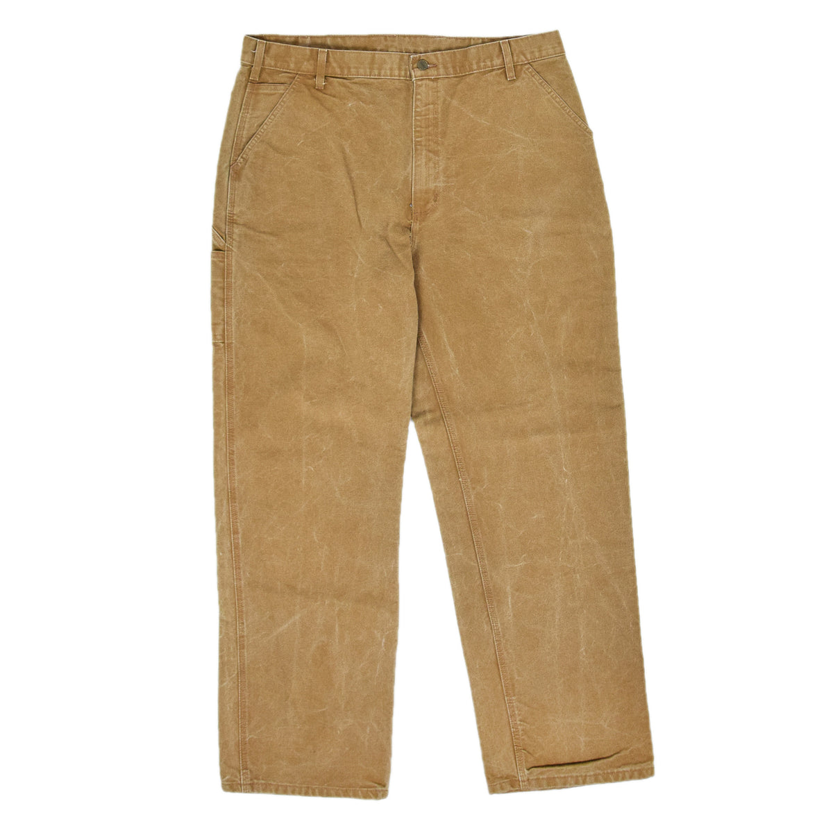 Vintage Carhartt Tan Brown Duck Canvas Utility Work Pant Dungaree Fit 38 W 32 L front