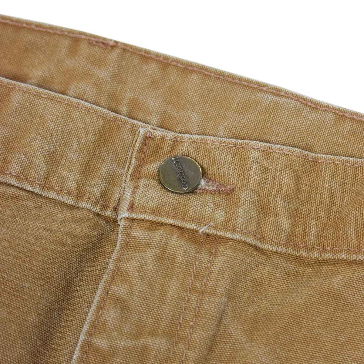 Vintage Carhartt Tan Brown Duck Canvas Utility Work Pant Dungaree Fit 38 W 32 L button