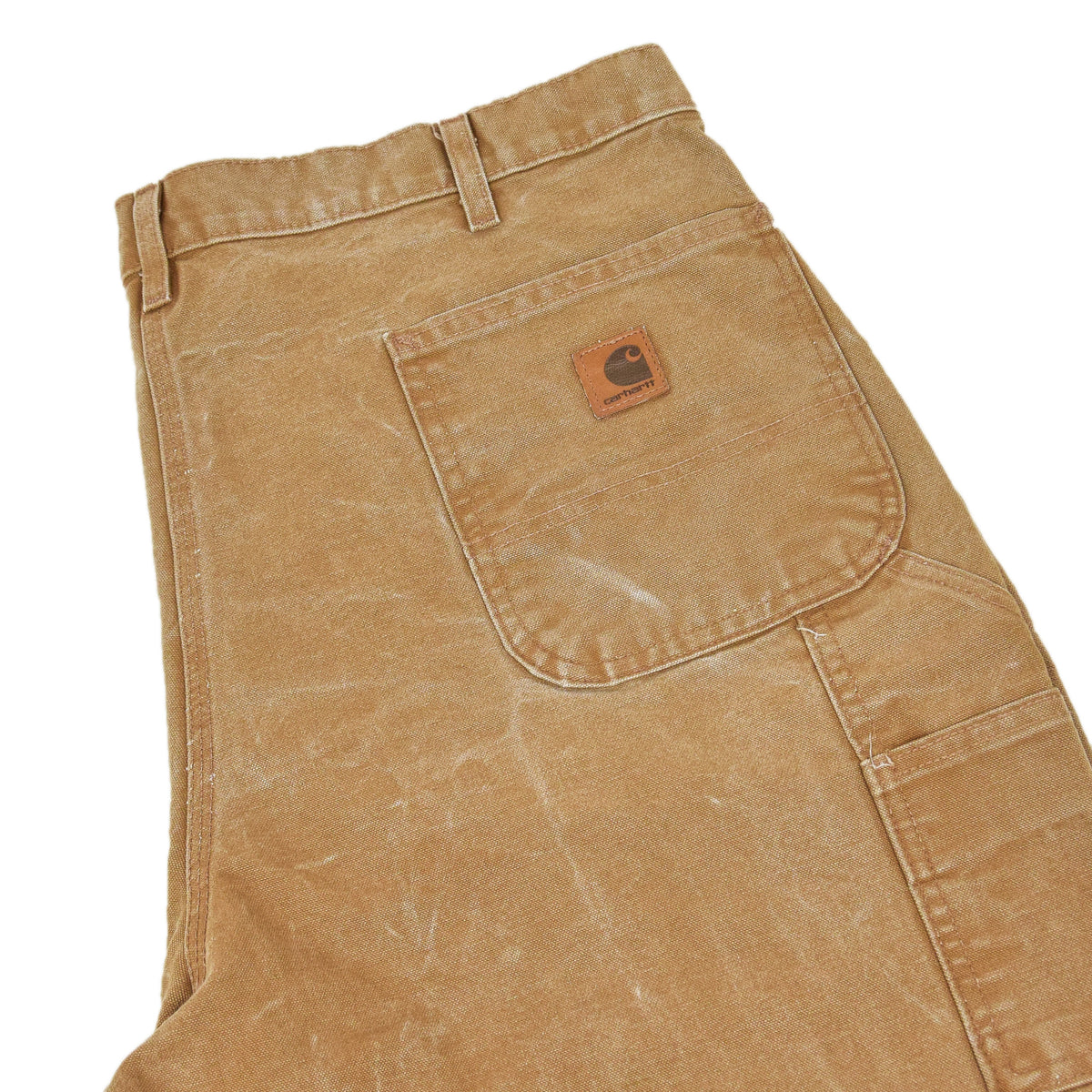 Vintage Carhartt Tan Brown Duck Canvas Utility Work Pant Dungaree Fit 38 W 32 L back pocket
