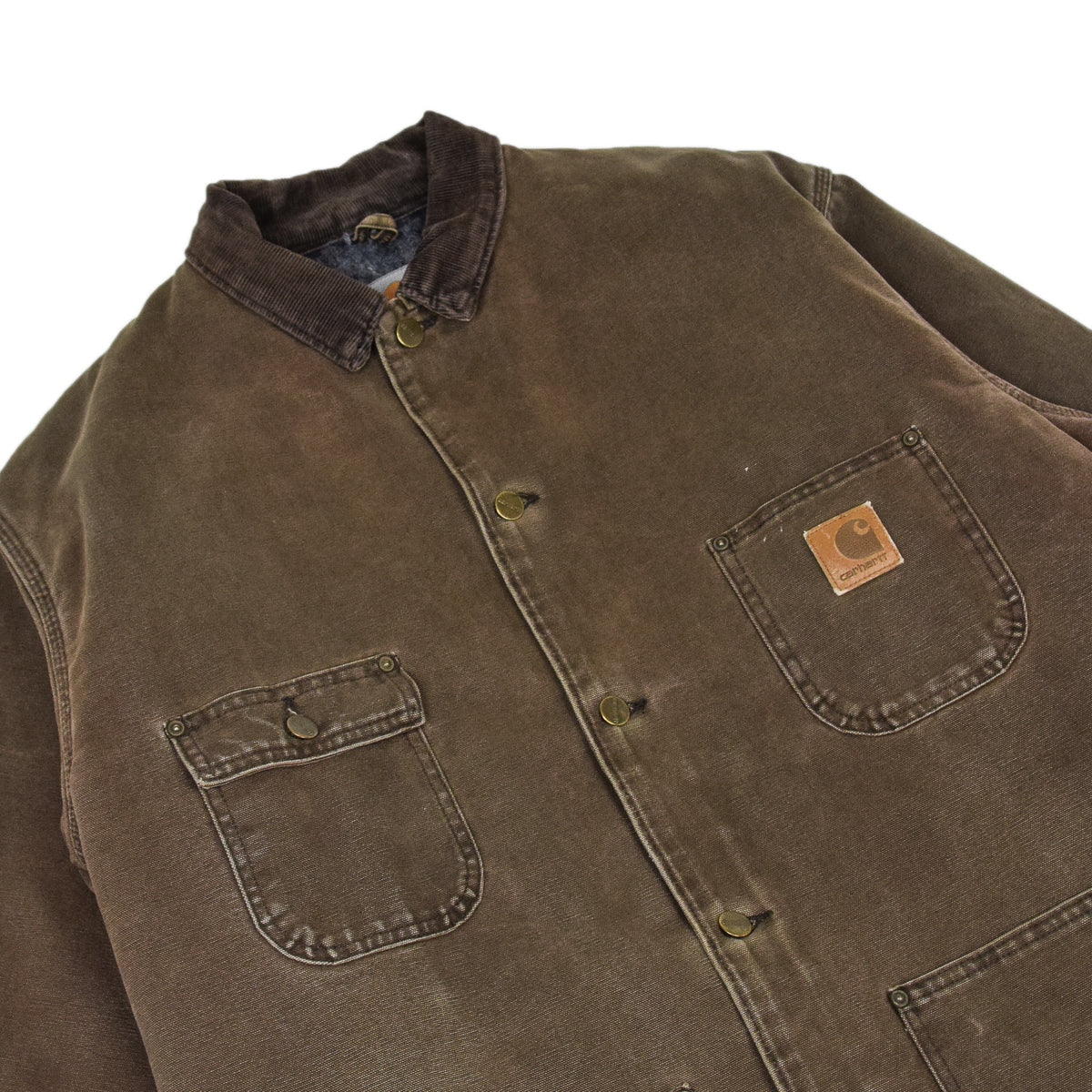 Vintage Carhartt Michigan Blanket Lined Brown Worker Chore Jacket Made in USA XL chest details