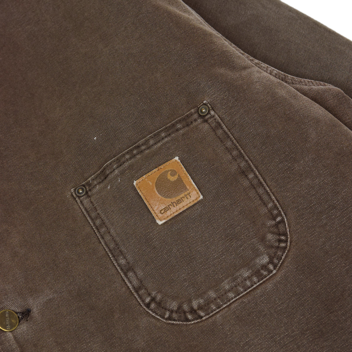 Vintage Carhartt Michigan Blanket Lined Brown Worker Chore Jacket Made in USA XL pocket detail