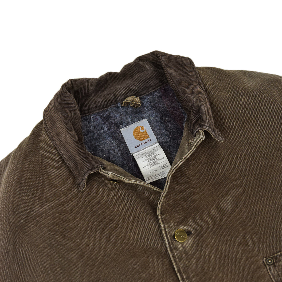 Vintage Carhartt Michigan Blanket Lined Brown Worker Chore Jacket Made in USA XL collar detail