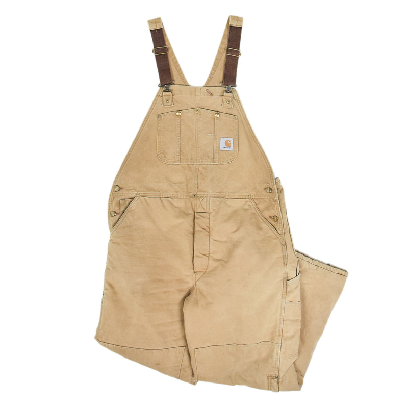 Vintage Carhartt Work Dungarees Tan Brown Duck Canvas Bib Overall Lined L / XL front