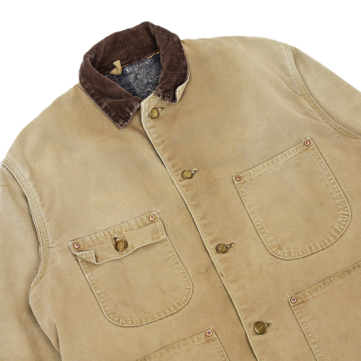 Vintage 70s Carhartt Michigan Blanket Lined Tan Brown Worker Chore Jacket S / M chest