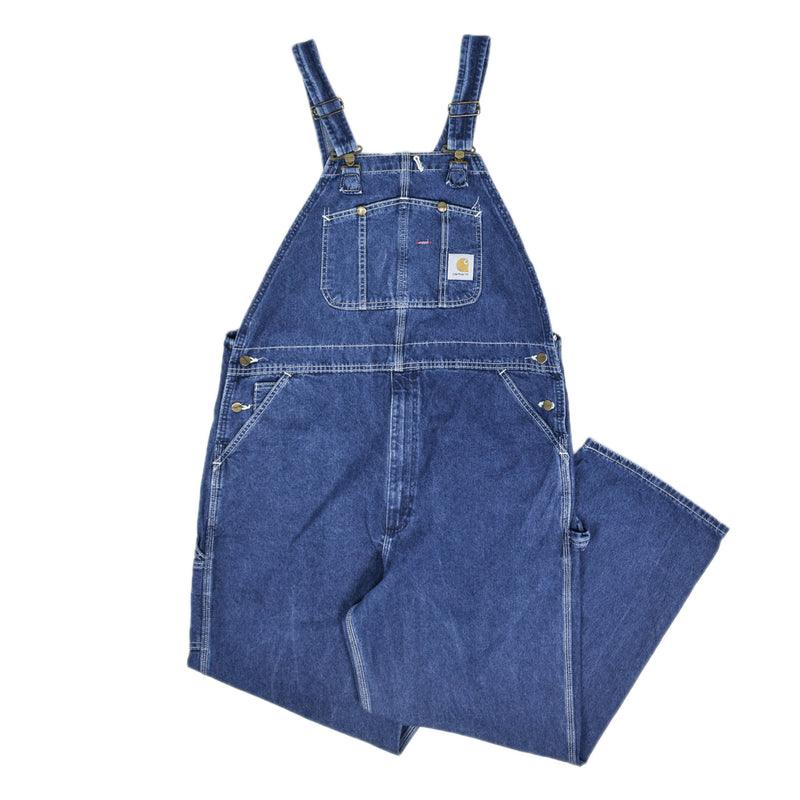 Vintage Carhartt Denim Work Dungarees Blue Bib Overalls Trousers M / L front