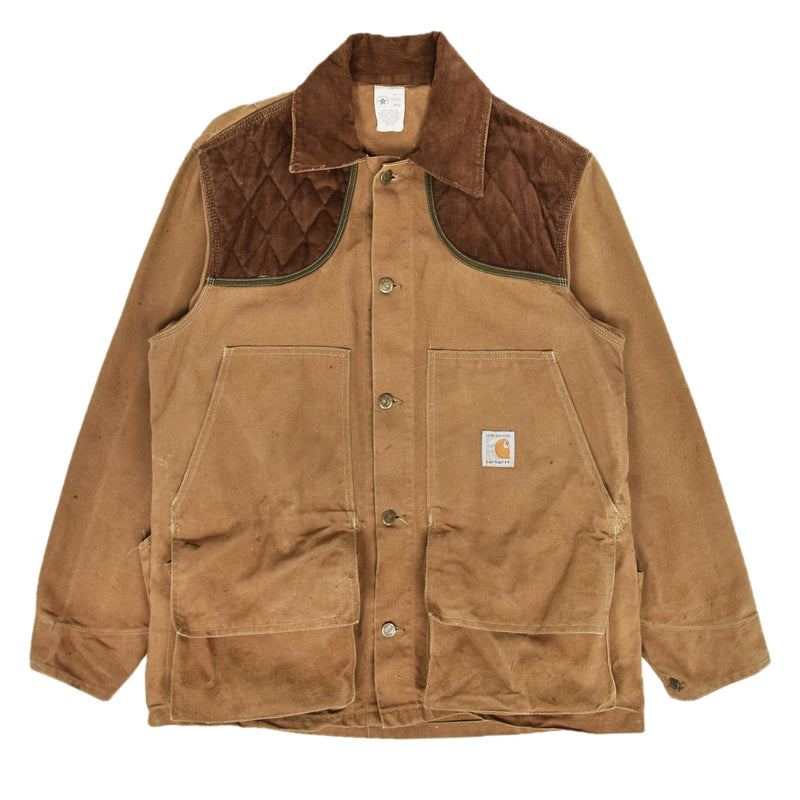 Vintage 80s Carhartt 100 Years Hunting Duck Canvas Shooting Jacket L front