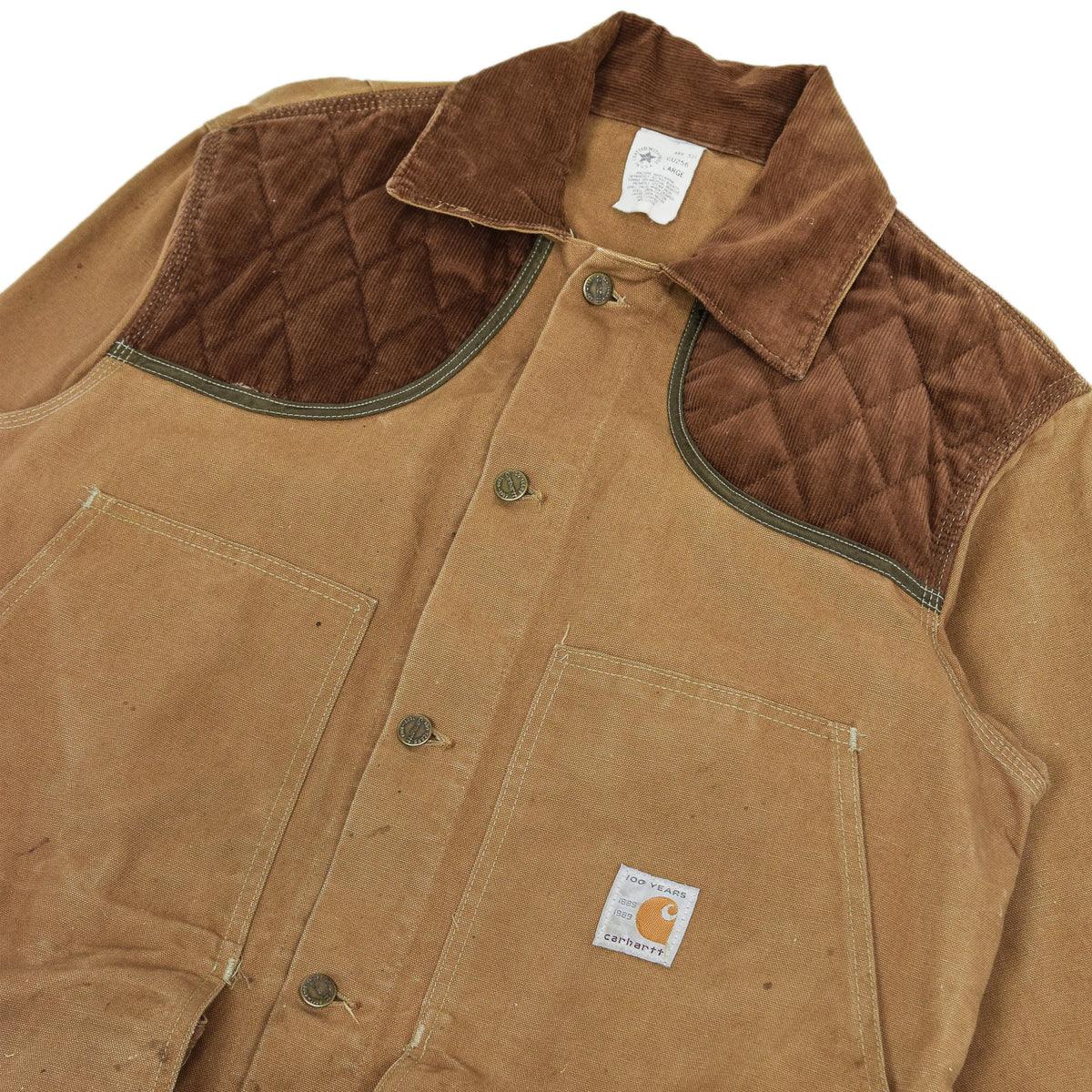 Vintage 80s Carhartt 100 Years Hunting Duck Canvas Shooting Jacket L chest