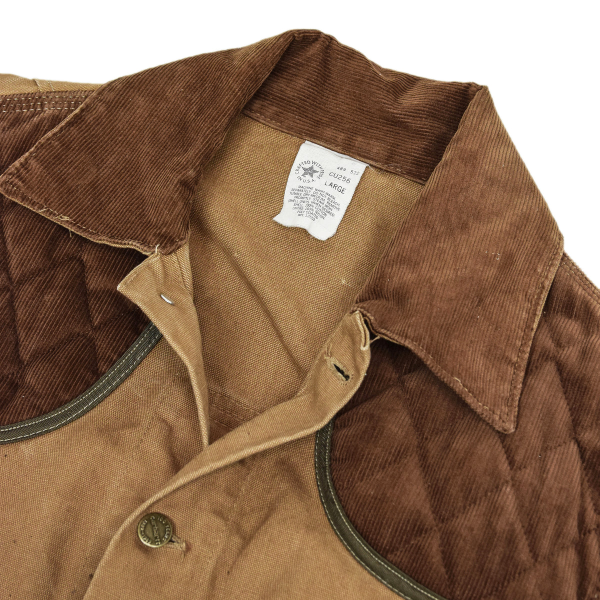 Vintage 80s Carhartt 100 Years Hunting Duck Canvas Shooting Jacket L collar
